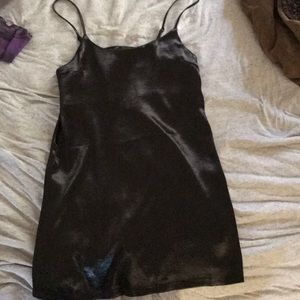 Black satin slip dress